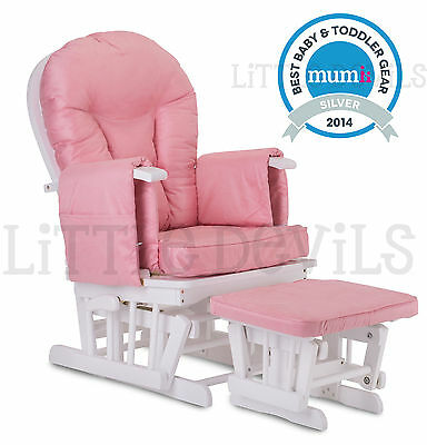 WHITE WOOD - PINK SUPREMO BAMBINO Nursing Glider Rocking Maternity Chair Stool