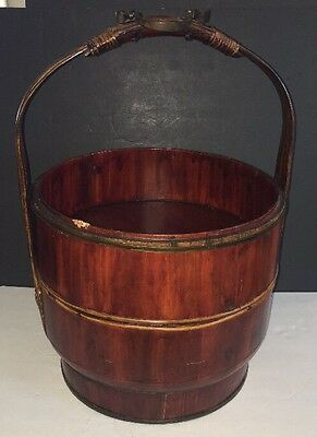 """Antique Tiered Chinese Wedding Basket Wood with metal handle approx. 20"""" Tall"""