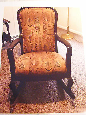 Antique Rocking Chair, Reupholstered Solid**3 Day Movings Sale Il Pick Up Only**