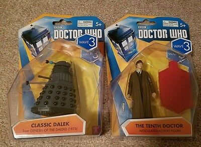 Lot of 2 BBC Doctor Who Wave 3 Classic Dalek Tenth Doctor Action Figure Tennant