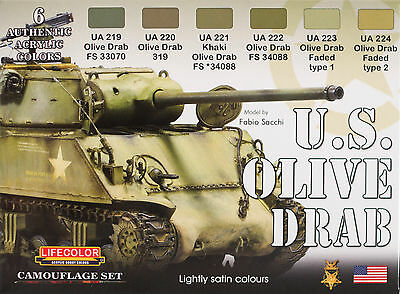 U.S. OLIVE DRAB   ,  SET 6 colori acrilici Lifecolor da 22ml cad.