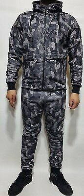 New Mens Full camouflage Tracksuit Fleece Jogging Bottoms Hooded Top S M L XL