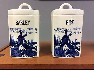 Set of two ceramic canisters blue and white windmills barley and rice