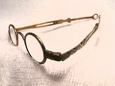 Very Rare Hand Engraved Georgian Reading Glasses In Brass England 1820