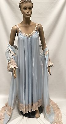 Intime Peignoir Set Sz L Double Chiffon Blue Nightgown Robe Vintage Dress