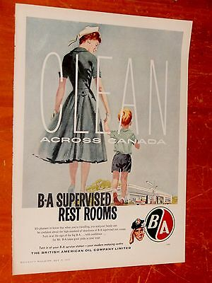 1958 Canadian B & A Gas Stations Clean Restrooms Ad - Mother & Child Vintage