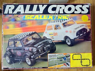 Rally Cross 1980's vintage Mini Scalextric complete set working grass track -VGC