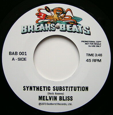 """Melvin Bliss Synthetic Substitution - 7"""" Vinyl With Extended Intro Break - Mint"""