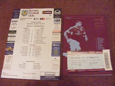 2016 BURNLEY v SOUTHAMPTON Programme Teamsheet Ticket 2017