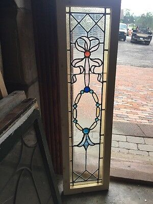 SG 1475 Antique Stainglass Window With Jewels 10.75 X 40.5