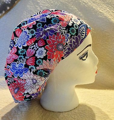 LADIES,WOMENS BOUFFANT STYLE SURGICAL Scrub Hat,FUN BRIGHT RETRO FLORAL,FLOWERS