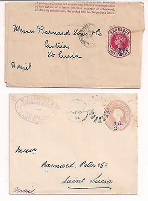 Postal Stationery 1/2d provisional Wrapper & envelope both to St Lucia