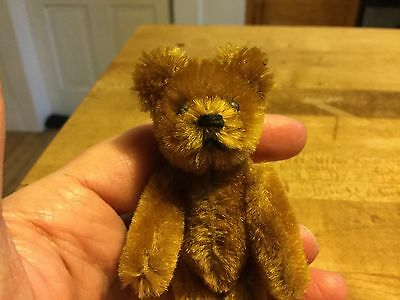 "Rare Antique Miniature 3.5"" Cinnamon Mohair Schuco Teddy Bear So Cute"