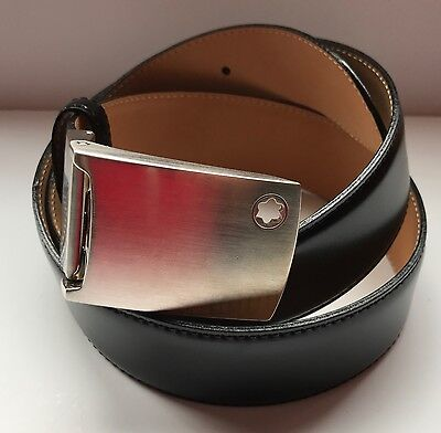 Genuine Mont Blanc Black Leather Mens Belt  Adjustable Size  Good Condition