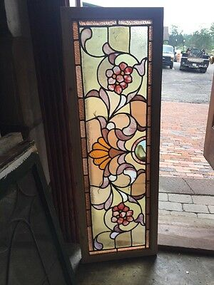 Sg 1471 Antique Stainglass Floral Transom Window 14 X 42.25