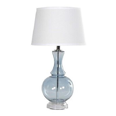 Table Lamp - 2 X Blue Glass Lamp with Shade - EB1002836