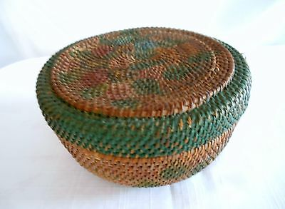 Antique Woven Old Colorful Paint Great Age Lidded Basket