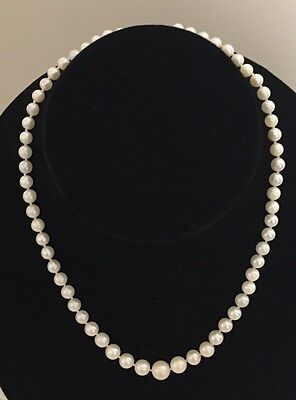 Vintage Genuine Graduated Pearl Choker Necklace 10k White Gold Clasp