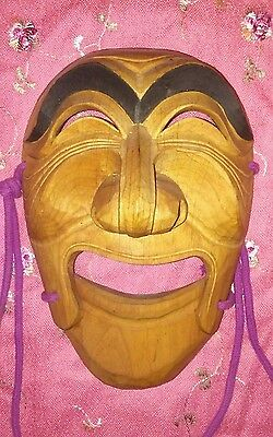 Noh MASK Japanese Dance Theater Hand Carved WOOD movable Jaw vintage wooden