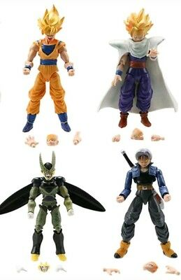 4 PERSONAGGI DRAGON BALL -16Cm.- Super Z Sayan Goku Figure Modellino Statuina