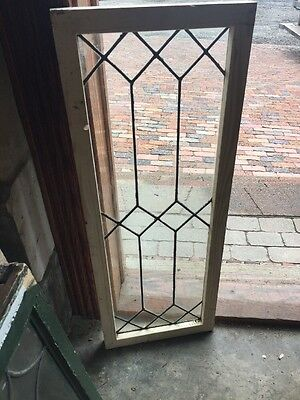 Sg 1478 Antique Leaded Glass Transom Window 14 1/4 X 37.75