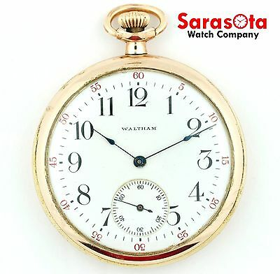 Waltham 15 Jewel Open Face White Arabic Dial 12 Size Gold Filled Pocket Watch