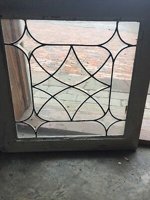 Sg 1479 Antique Leaded And Beveled Glass Window 22.5 X 23