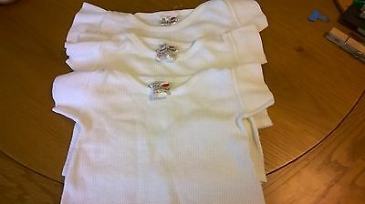 Vintage 1970s baby white shirts / vest tops set of three (3) Ladybird - 6 months
