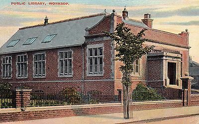 worksop notts old public library p/m 1905 rare card