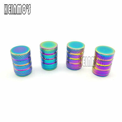 4 Pcs Car Motor Bike NeoChrome Wheel Tire Air Stem Valve Cap Dust Cover New