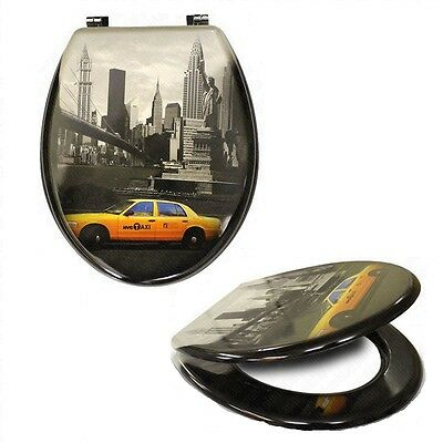 Nyc Novelty Toilet Bathroom Seat Mdf+Chrome Hinges Statue Of Liberty Taxi Bridge