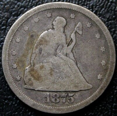1875-S 20C Twenty Cent Piece VG Very Good