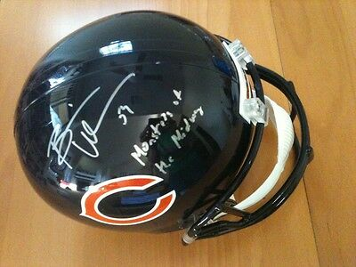 Brian Urlacher Inscribed Autographed Signed Fs Full Size Helmet Leaf Authentic