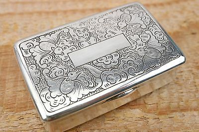 Chinese Heavy Silver Snuff Box - Maker Mark MK - C1880