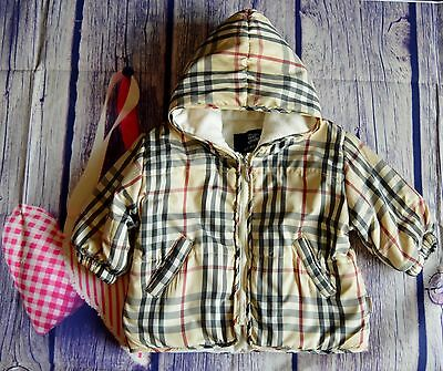 Burberry Baby Boy Or Girl Designer Fleece Lined Puffa Coat 6 Months VGC