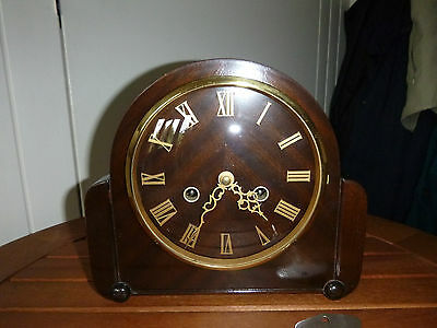 Smiths Mahogany Cased Wood Face Striking Mantel Clock