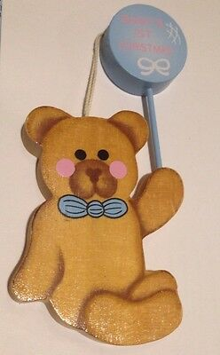 BABY'S FIRST CHRISTMAS ~BEAR With BALLOON ~ Wooden
