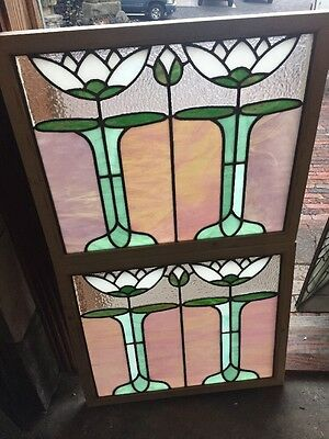 Sg 1481 Match Pair Antique Lillypad Stainglass Window 22 X 26.5