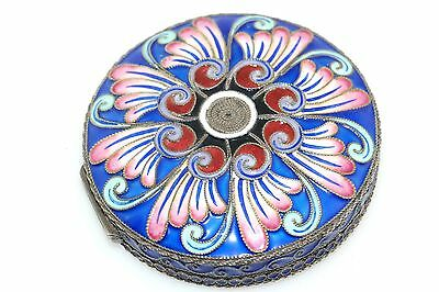 Antique Russian Enamel Powder Compact Silver Round Box