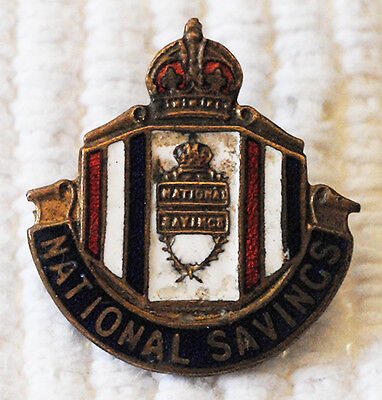 "National Savings 1"" Enameled Pin / Badge George VI WWII Period"