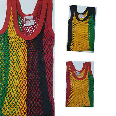 new mens Rastafarian Jamaica African mesh string vest multi colour sizes m,l,xl
