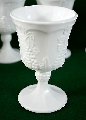 (2) Vintage Indiana Colony Harvest Grape Pattern Milk Glass Goblets Cups