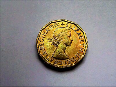 Queen Elizabeth II Three Pence 1964-Excellent Condition