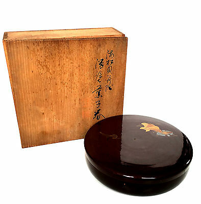 JAPANESE KASHIKI 19C Lacquer Tea Ceremony Biscuit Box Gold & Silver Makie w/ Box