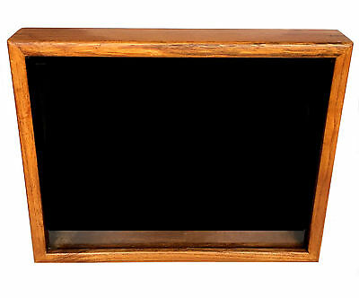 SHADOW BOX Deep Wood Framed Black Box Medals Awards Display Case Collectible