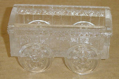 Eapg Crystal Picket Fence Wagon  Master Salt King Glass 1890's