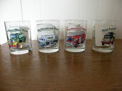Set of 4 Hess Truck Glasses 1996 Classic Truck Series With Thank you Paper