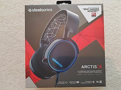 SteelSeries Arctis 5 RGB 7.1 Gaming Headset Black - BRAND NEW