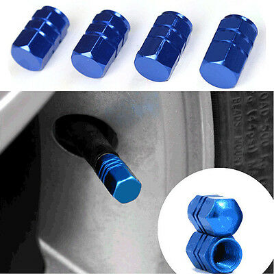 4pcs/Set Blue Light Metal Cars Tire Tyre wheel Nuts Valve Ctems Cap CB002