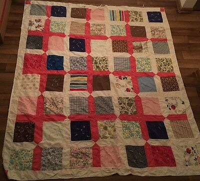 Vintage Multi Color Patch Pattern Hand sewn Handmade Beautiful Pattern Quilt